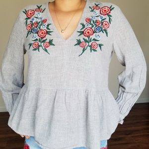 Zara Basics Collection Floral Embroidered Top